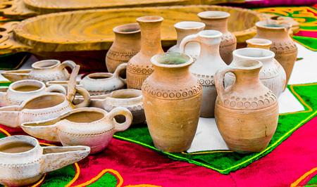 Handmade big jar products with national Kazakh patterns Foto de archivo