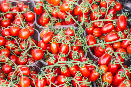Cherry tomatoes on the counter in the market for sale