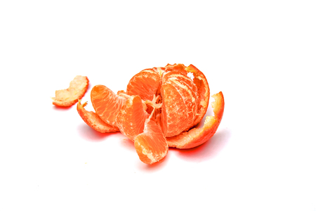 Ripe mandarin fruit on white background