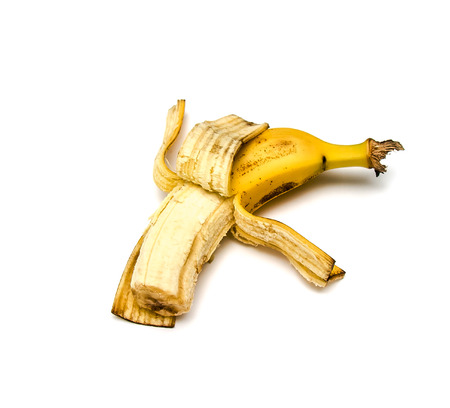 Ripe banana fruit on white background