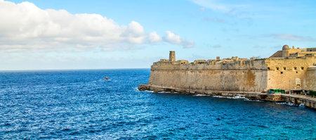 Ancient stone fortress on the seashore-sea landscape