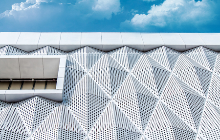 Finishing of the building with modern materials from aluminum facade
