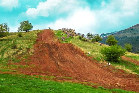 Motocross track in spring Stock Photo