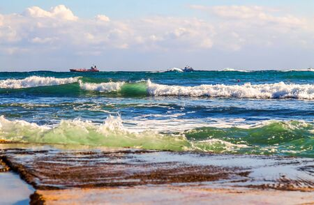 Sea waves wash rocky stones - seascape