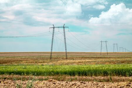 Metal supports high-voltage power lines on a wheat field. Landscape