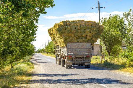 Trucks transport hay bales along the way.