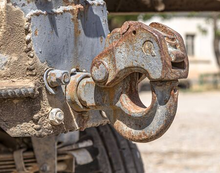 Old rusty tow bar for agriculture close up Banco de Imagens