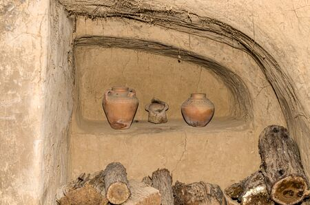 The ancient dwelling of the Kazakhs in the dugout. Inside view. Imagens