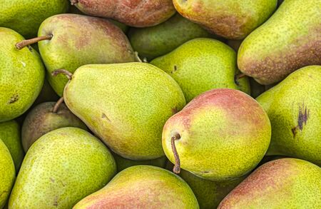 Harvest pears in the market as a background