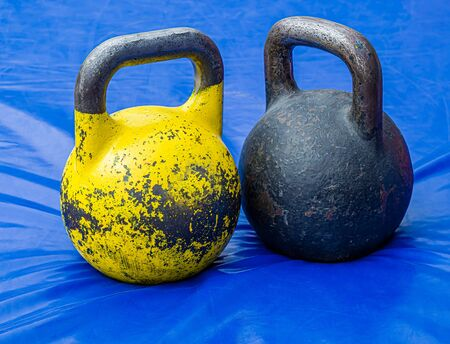 Close-up kettlebell sports equipment weight on the floor 写真素材