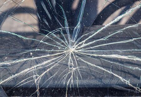 Broken windshield of a car close-up as a background Stok Fotoğraf