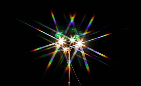 Bokeh arc-en-ciel de la lumière d'un réverbère comme arrière-plan abstrait