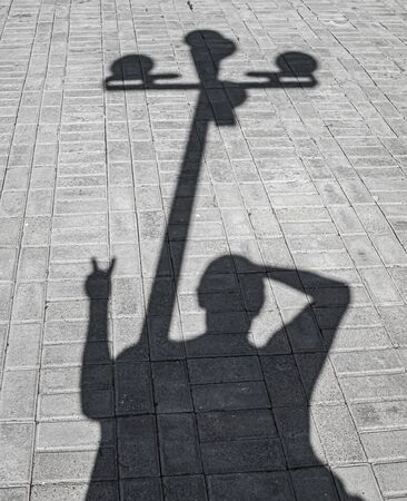 Shadow from a street lamp on paving slabs