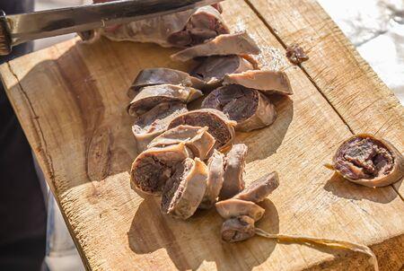 Sliced sausage of horsemeat kazy close-up