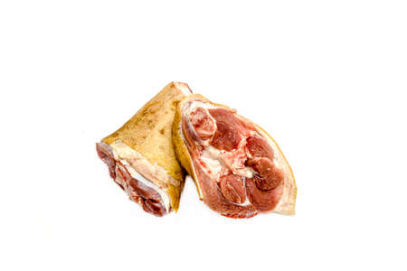 Raw pork shank on a white background 写真素材