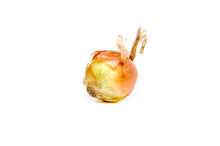 Onion close-up on a white background.