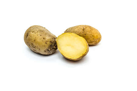 Boiled potatoes in a peel on a white background 写真素材