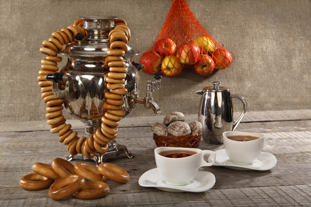 samovar: Russian samovar with bagels and cups of tea