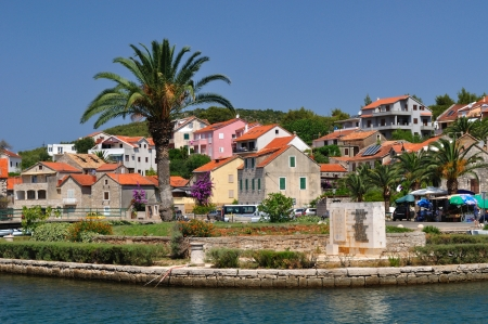 brac: Buildings and palm tree in Vrboska on island Hvar in Dalmatia, Croatia