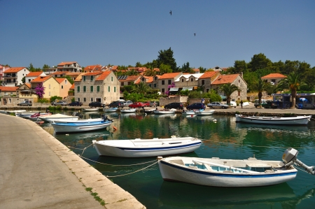 Port of Vrboska on island Hvar in Dalmatia, Croatia