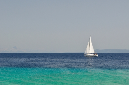 White boat alone at an open sea, Island Brac, Croatia