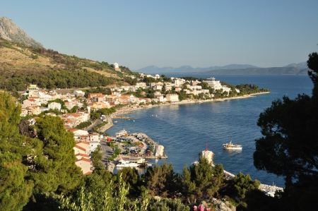 View of Podgora from mountain with Adriatic sea and islands in background