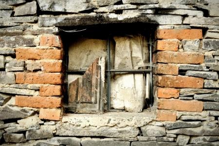 devastated: Old devastated windows in stonewall