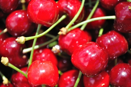 Texture from group of red ripe cherries