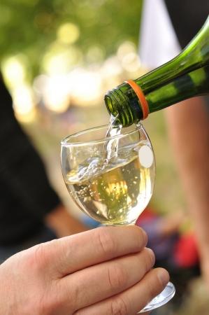 white wine glass: Man pours white wine into a glass Stock Photo
