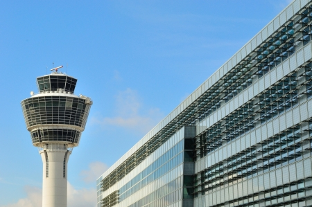 Control tower at Munich Airport, Germany Stock Photo