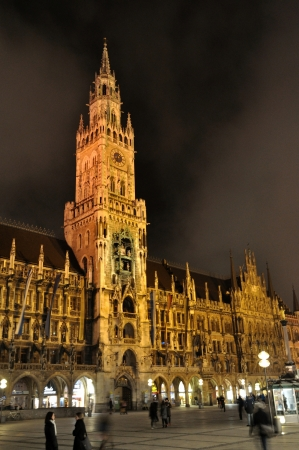 Night scene of town hall at the Marienplatz in Munich, Germany