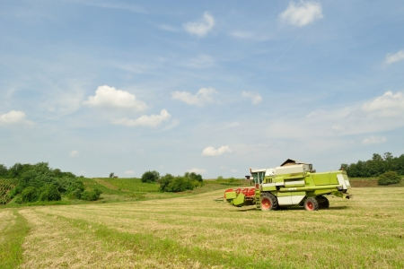 Modern combine harvester finished the harvesting in the wheat field photo