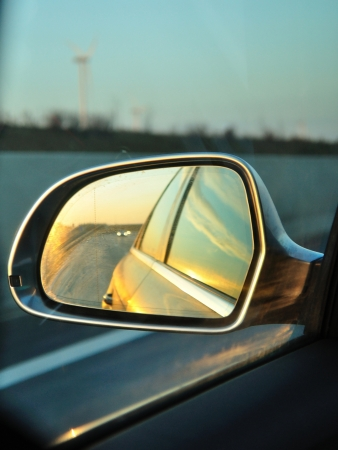 Left side s rear vision mirror of the car Stock Photo