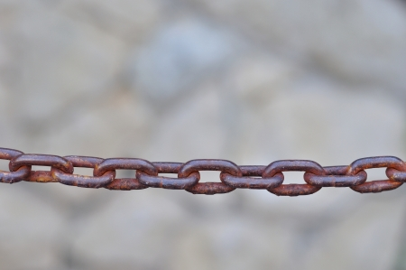 Close up of old rusty metal chain photo