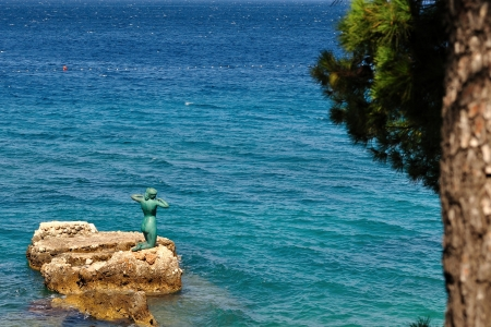 Statue of the mermaid in Podgora, Croatia