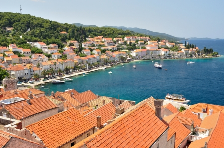 Town Korcula in island Korcula in Croatia photo