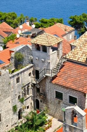 Town Korcula in island Korcula in Croatia with tower which is part of Marco Polo Stock Photo