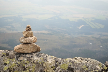 Zen balanced stones stack in high mountains