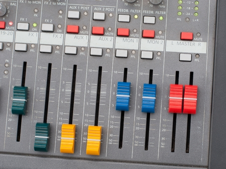 Top view of music mixer with controls photo