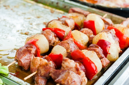 shishkabab: Barbecue Shish kebab With Chicken Meat, Red Peppers, Tomatoes And Zucchini