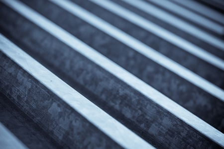 steel blue: Blue corrugated metal sheet texture. Abstract background Stock Photo
