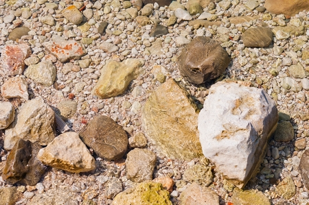 Stones of various size on the beach. Natural background. Podgora Croatia Stock Photo