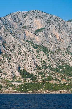 View of high mountain Biokovo in Makarska Riviera in  Croatia