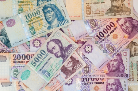 Pile of Hungarian forint banknotes - business, financial background