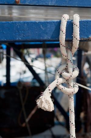 Marine rope knot on fishing ship