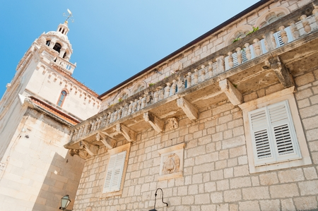 The cathedral of St Marco in the center of Korcula city in Croatia