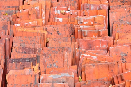 stackable: Stack of red ceramic roof tiles Stock Photo