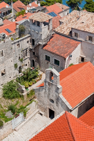 Town in Korcula island Korcula in Croatia with tower Which is part of Marco Polos home Editorial