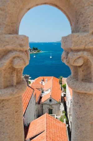 Town in Korcula island Korcula in Croatia. Birdview from cathedral of St Marco
