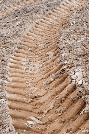 dirtroad: Tractor wheel tracks on the ground as background. Vertical photo